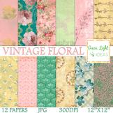 Floral Vintage Digital Papers / Floral Backgrounds / Shabb