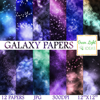 Galaxy Digital Papers Space Backgrounds Nebula Scrapbook Paper