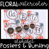 Floral Watercolor Alphabet Posters & Alphabet Bunting