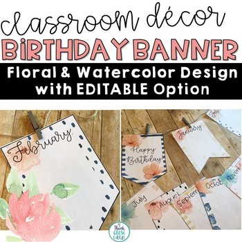 Floral Watercolor Birthday Banner