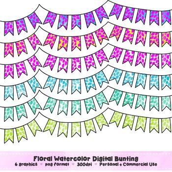 Floral Watercolor Bunting Clip Art Set