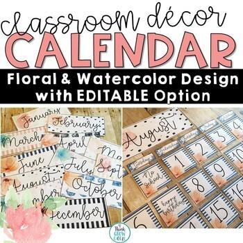 Floral Watercolor Calendar Set