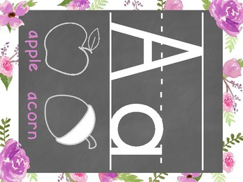 Floral Watercolor Classroom Alphabet Set