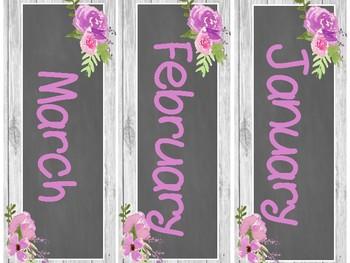 Floral Watercolor Classroom Calendar Set