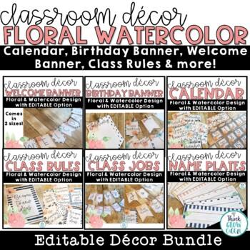 Floral Watercolor Classroom Decor