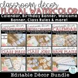 Classroom Themes Decor Bundle   Floral Watercolor