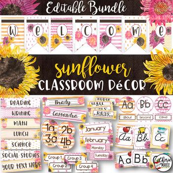 Classroom Themes Decor Bundle | Editable Watercolor Sunflowers