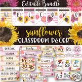 Classroom Themes Decor Bundle   Editable Watercolor Sunflowers