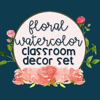 Floral Watercolor Classroom Decor Bundle + EDITABLE