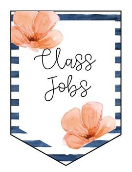 Floral Watercolor Classroom Jobs Banner