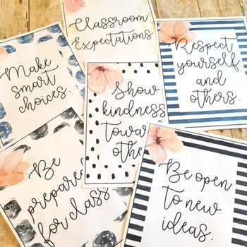 Floral Watercolor Classroom Rule Posters (Expectations)