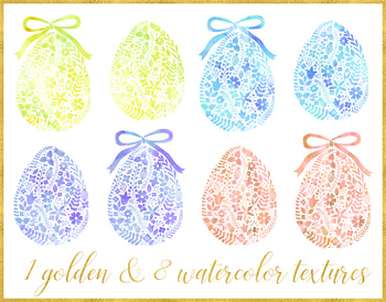 Floral Watercolor Easter Egg Clipart, Gold Easter Egg- 18 PNGs.