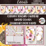 Floral Watercolor Classroom Decor Editable Binder Covers & Teacher Calendar