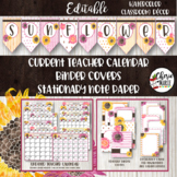 Floral Watercolor Classroom Decor Editable Binder Covers &