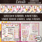 Floral Watercolor Classroom Decor Editable Banners Tags La