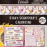 Floral Watercolor Classroom Decor Editable Calendar & Daily Schedule