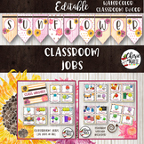 Floral Watercolor Classroom Decor Editable Jobs