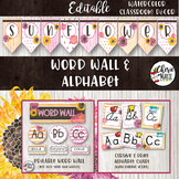 Floral Watercolor Classroom Decor Editable Word Wall and Alphabet