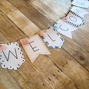 Floral Watercolor Welcome Banner