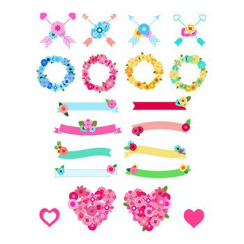 Floral Wedding Clipart, Wedding Banner, Wreath Clipart, Arrows, Flower Heart