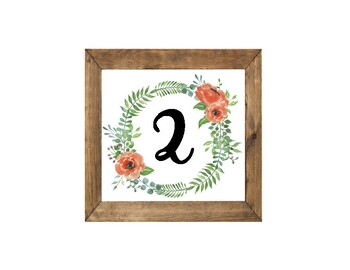 Floral Wreath Wooden Framed Table Numbers and Alphabet Set