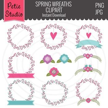 Floral Wreaths, Pink Flowers, Blue Flowers, Spring Wreaths - Spring106