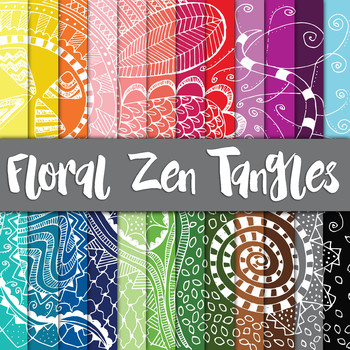 Floral Zen Tangle Digital Paper Pack - 24 Different Papers - 12 x 12