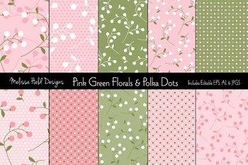 Pink & Green Floral and Polka Dot Patterns