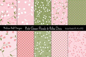 Floral and Polka Dot Patterns: Pink Green