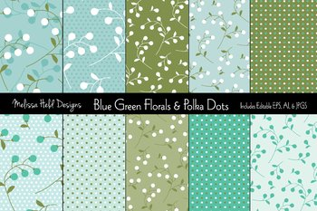 Blue &  Green Floral and Polka Dot Patterns