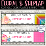 Floral and Shiplap Desk Name Tags