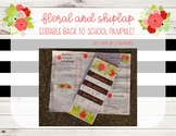 Floral and Shiplap EDITABLE Back to School Parent Pamphlet