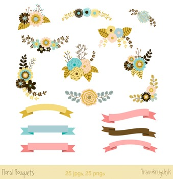 Floral banners clip art, Flower banners clipart, Digital floral ribbons, wedding