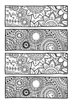 Floral bookmarks colouring