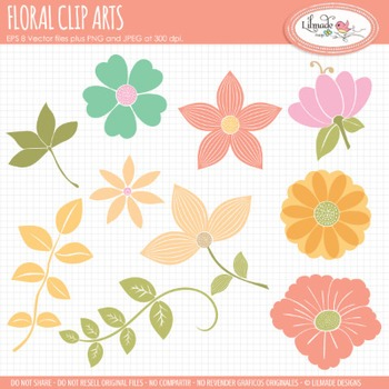 Floral clip arts, floral vector clip arts