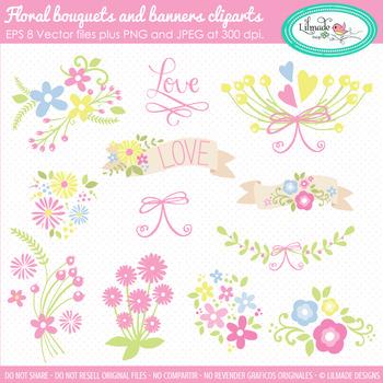 Floral clipart, spring clipart, floral bouquet clipart, floral banner clipart