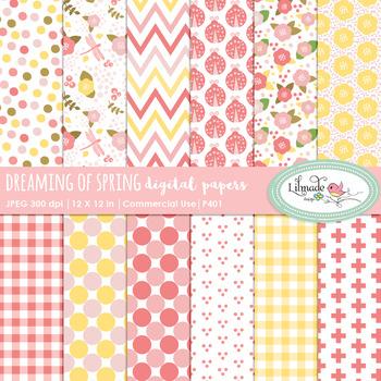 Floral digital paper, spring digital papers, floral backgrounds