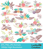 Floral elements Digital Clip Art