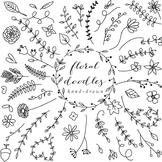 Floral elements clip art hand drawn clipart line art blacklines doodles flowers