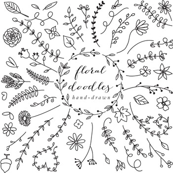 Floral elements clip art hand drawn clipart line art blacklines doodles flowers