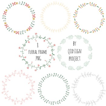 Floral frames and wreath clipart, foliage frame, floral border | TpT