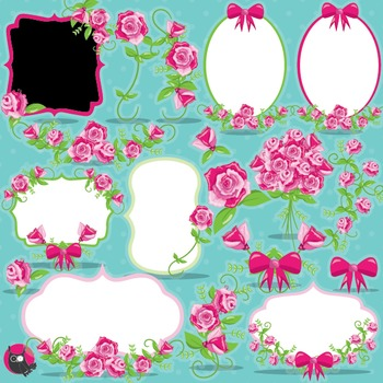 Floral frames clipart commercial use, vector graphics, digital - CL954