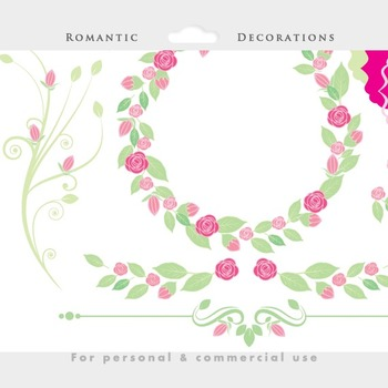 Floral frames, flowers, ornate flourish, vines, leaves, romantic, digital frames