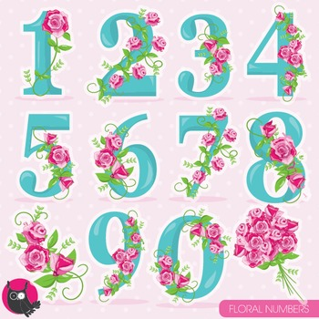Floral numbers clipart commercial use, vector graphics, digital - CL956