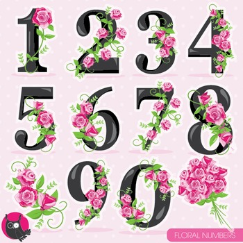 Floral numbers clipart commercial use, vector graphics, digital - CL957
