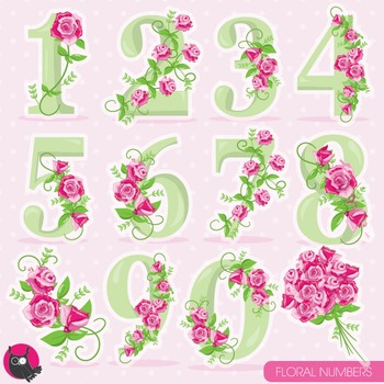Floral numbers clipart commercial use, vector graphics, digital - CL958