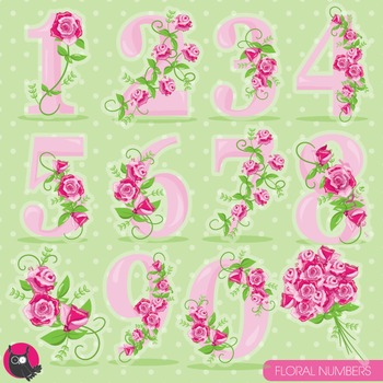 Floral numbers clipart commercial use, vector graphics, digital - CL959