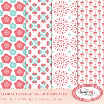 Floral paper templates, layered paper templates