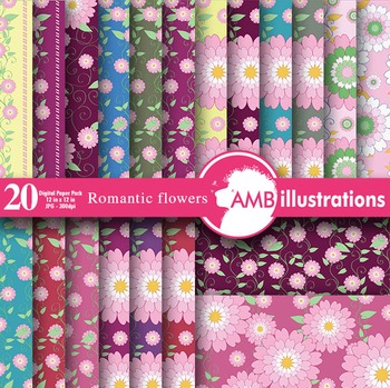 Flower papers and Backgrounds, 20 floral digital papers, AMB-327