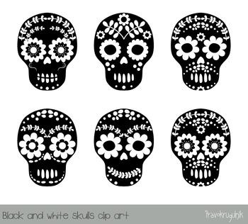 Floral skull clipart, Sugar skull clip art, Halloween, Day of the Dead, Calavera